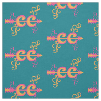 Swirls Cross Country Runner Symbol Pink Orange Fabric