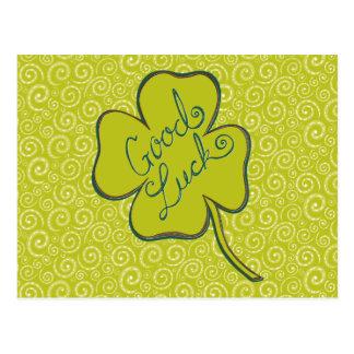 Swirls Happy Good Luck Shamrock Postcard