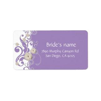 Swirls Lavender Garden Flowers Address Label