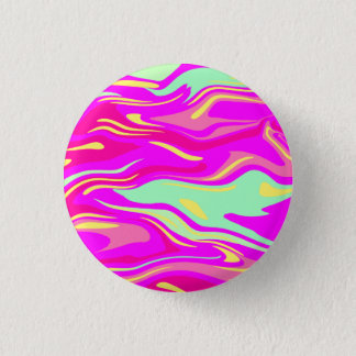 Swirls of Pink, Magenta, Mint Green and Yellow 1 Inch Round Button