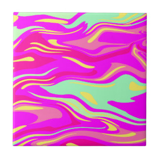 Swirls of Pink, Magenta, Mint Green and Yellow Ceramic Tile