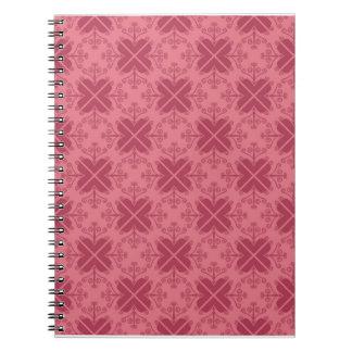Swirls Pattern Spiral Notebook Red