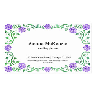 Swirls purple roses pack of standard business cards