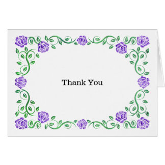 Swirls purple roses greeting card