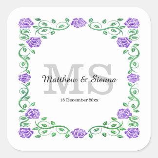 Swirls purple roses square sticker