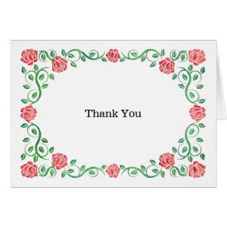 Swirls red roses greeting card