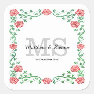 Swirls red roses square sticker