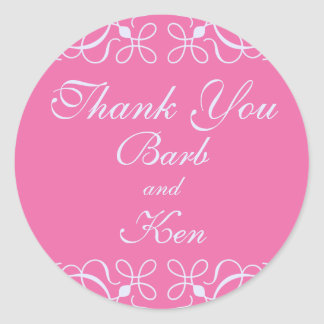 Swirls Thank You Sticker in Candy Pink