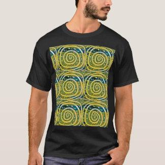 Swirls. Yellow, white, and blue T-Shirt
