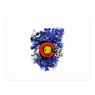 Swirly Abstract Colorado Flag Postcard