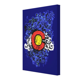 Swirly Abstract Colorado Flag Wall Canvas