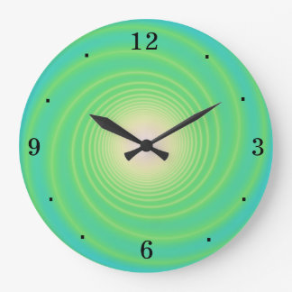 Swirly Aqua/ Lime Green> Wall Clock