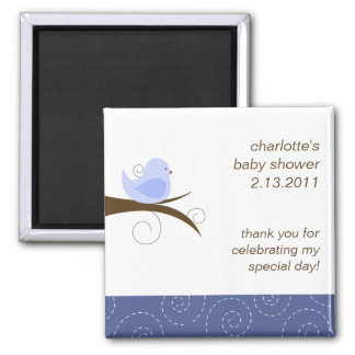 Swirly Bird Custom Baby Shower Favor Magnet
