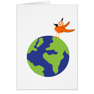 Swirly Bird Saves the World for Sustainable Earth Greeting Card