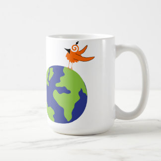 Swirly Bird Saves the World for Sustainable Earth Mugs