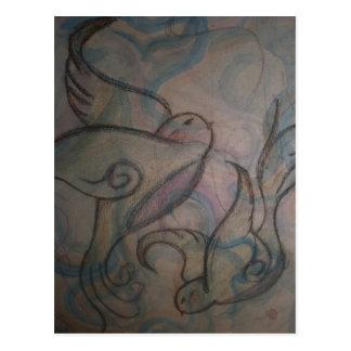 Swirly Birds Postcard