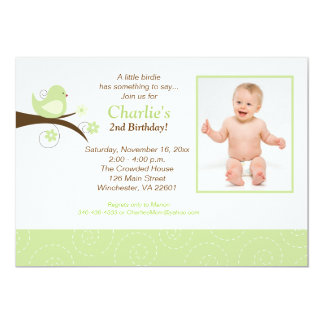 Swirly Birds Trendy Green Photo Birthday Invite
