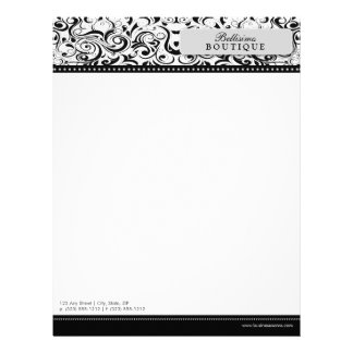 Swirly Black Boutique Designer Letterhead