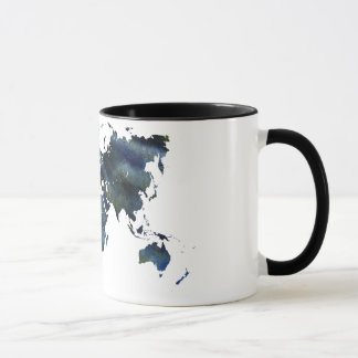 Swirly Blue Acrylic World Map Mug
