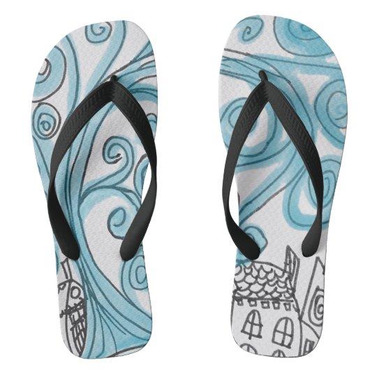 Swirly Blue Flip Flops
