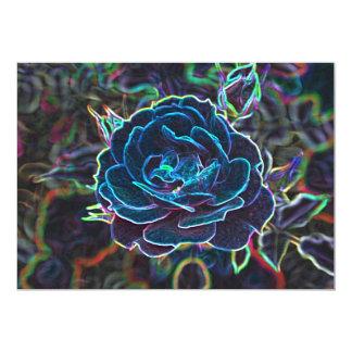 Swirly Blue Neon Rose Card