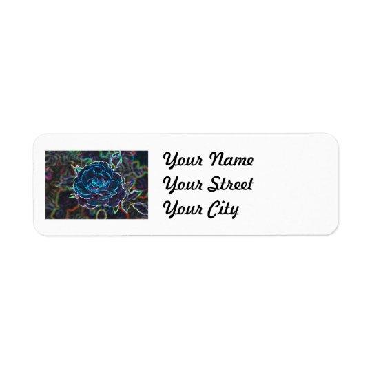 Swirly Blue Neon Rose Return Address Label
