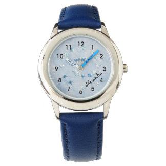 Swirly Blue Stars Girl's Watch