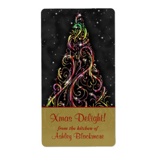 Swirly Christmas Tree Xmas Holiday Baking Labels