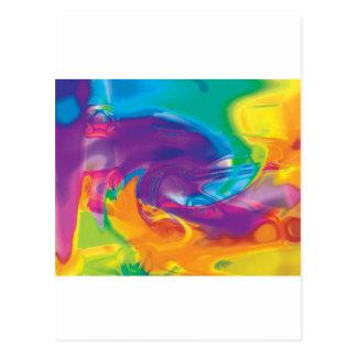 swirly colorful rainbow design postcard