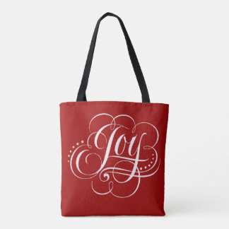 Swirly Fancy Joy Christmas Calligraphy on Red Tote Bag