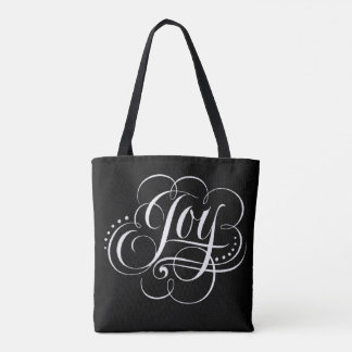 Swirly Fancy Joy Christmas Lettering Black Fashion Tote Bag