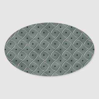 Swirly Floor Plate With Polka Dots On Hunter Green Oval Stickers