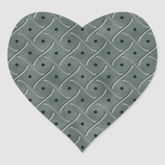 Swirly Floor Plate With Polka Dots On Hunter Green Heart Stickers
