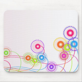 swirly floral retro dots mousepad