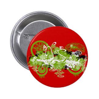Swirly Flower Design 2 Inch Round Button