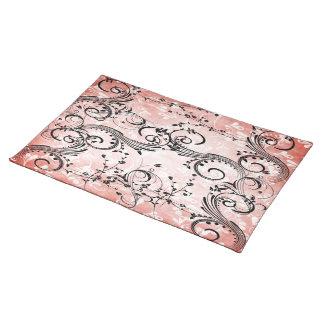 Swirly Flower Vines Cloth Place Mat