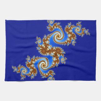 Swirly Fractal Blue Brown Kitchen Towel