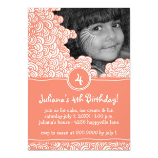 Swirly Fun Doodle Kids Birthday Party Invitation