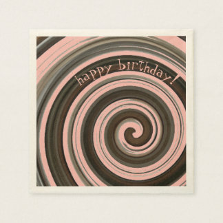 Swirly Girly  Chocolate and Strawberry Pink Paper Napkins