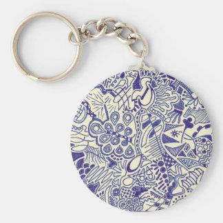 Swirly Hand Doodled Key-chain Basic Round Button Keychain