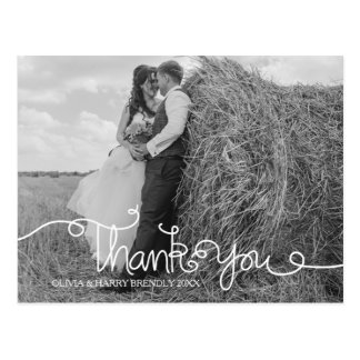 Swirly Hand Lettered Wedding Thank You Postcard