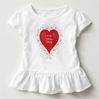 Swirly Heart Baby T with ruffles Toddler T-shirt
