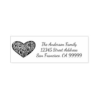 Swirly Heart - Self Inking Address Stamp
