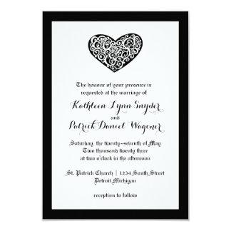Swirly Heart Wedding - 3x5 Wedding Invitation