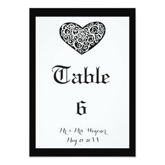 Swirly Heart Wedding - Table Number