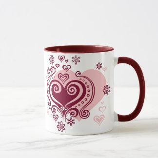 Swirly hearts and flowers Mug