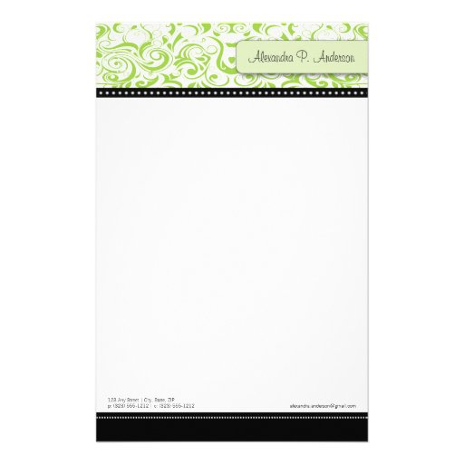 Swirly Lime Boutique Designer Stationery
