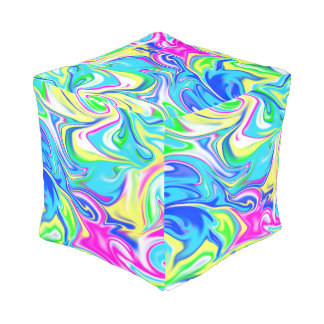 Swirly Liquefied Candy, Full Print Pouffe. Pouf