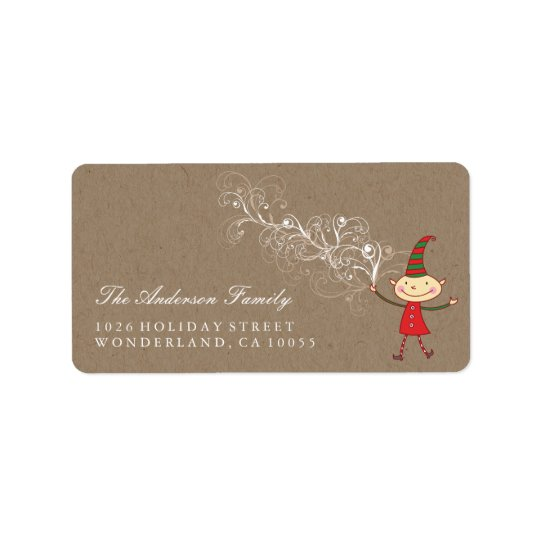 Swirly Magical Cute Elf Christmas Address Labels