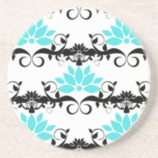 swirly modern aqua white black damask pattern coaster